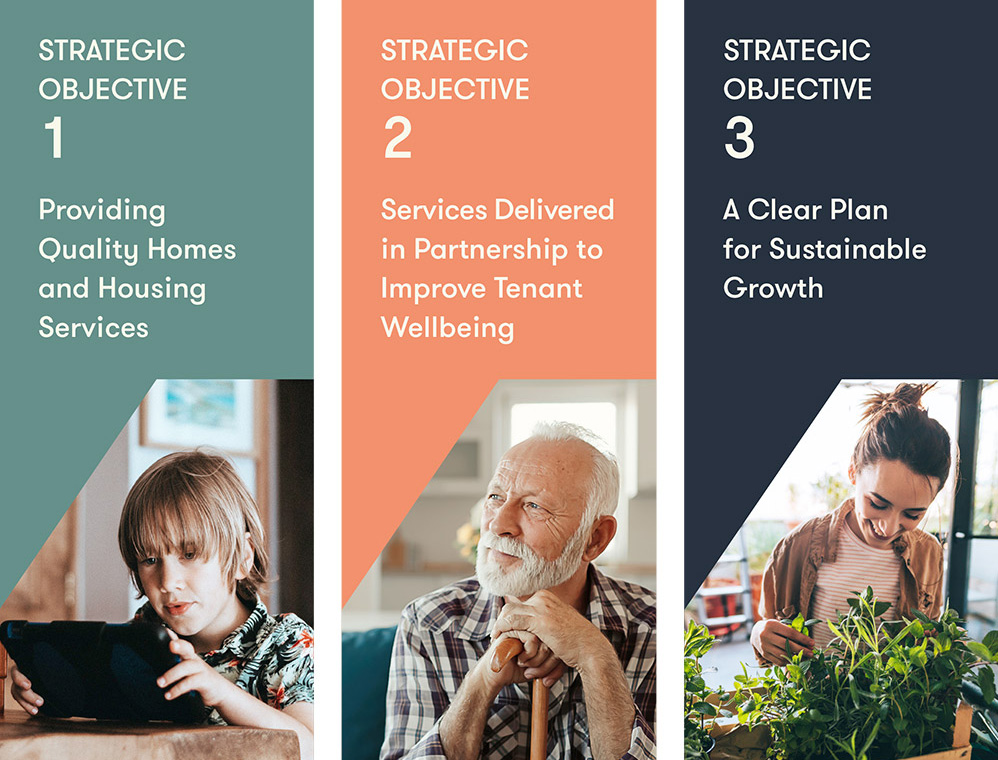1 - The provision of quality homes and housing services. 2 - A clear plan for sustainable growth. 3 - Services delivered in partnership to improve tenant wellbeing.